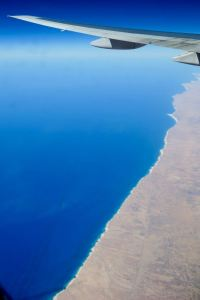 Flying over the coast of North Africa