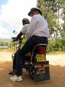 Mark on a boda-boda (motorcycle taxi)
