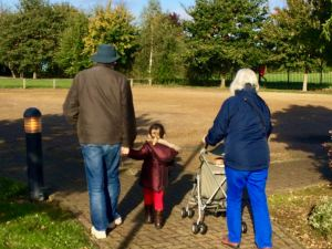 Enjoying a walk with our grandchildren